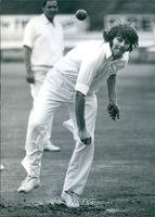 Chris Old playing cricket in 1975.
