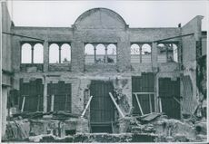 A devastated establishment in Denmark during WWII, 1945.