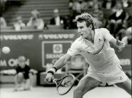 Mats Wilander plays in the finals of the Stockholm Open