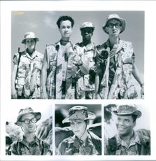"""Lori Petty, Pauly Shore, David Alan Grier, and Andy Dick of the 1994 movie, """"In the Army Now""""."""