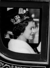 Queen Elizabeth II on the road to galley to the state opening of parliament