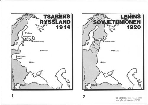 Two maps showing the Tsar's Russia from 1914 and Lenin's Soviet Union from 1920