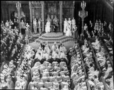 The ceremonial government opening of the Parliament by the British Queen. Inside the House of Lords House.