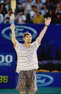 American tennis player Andre Agassi after winning the final against Pete Sampras in the Australian Open 1995