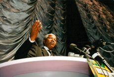 Nelson Mandela falls for the first democratic election in South Africa's history.