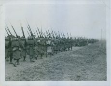 French infantry soldiers marching in 1935.