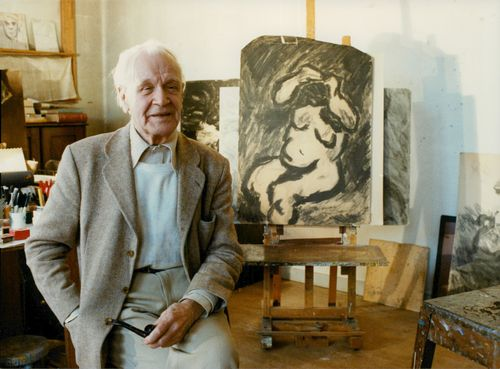 Evert Lundquist in his studio, th is a colossal drawing from the 40's
