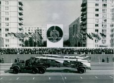 East Germany celebrating its thirty fifth anniversary with its biggest ever military parade in East Berlin .1985