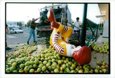 France, demonstrations. Angry French farmers dumped around 8 tons of fruit in Cavallion in protest