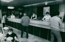 Clients on the reception area, 1971.