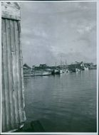 A view of boats in the water in Sweden during World War I, 1943.