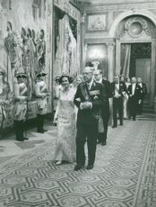 King Gustaf VI Adolf with Queen Fabiola at Gala Dinner