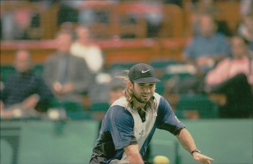 Andre Agassi participates during the Bercy tournament.