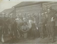 The troops taking a break, group photo at field exercise