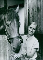 West German rider, Bettina Oversch, 1983.