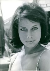 Close up photo of Monika Berger at Venice, August 25, 1960.