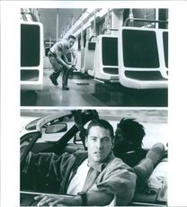 Scenes from the film Speed with Keanu Reeves, 1994.
