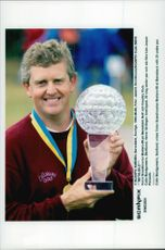 Golf player Colin Montgomerie with the trophy after the win in Volvo Scandinavian Masters 1999