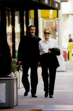 Actress Sharon Stone on walk with husband Phil Bronstein in Manhattan