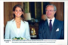 Princess Madeleine together with father King Carl Gustaf during her 18th anniversary at Stockholm Castle.