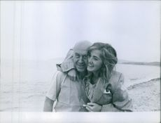 Otto Ludwig Preminger with her daughter Victoria Preminger at the beach.
