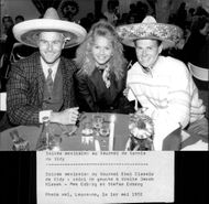 Jakob Hlasek and Stefan Edberg with his wife at a Mexican night in connection with the Swiss Open 1992