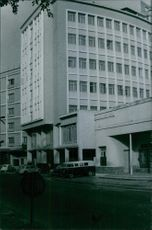 A building in road, 1967.