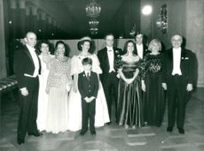 Jerame Karle with family greetings at the royal couple King Carl XVI Gustaf and Queen Silvia of Sweden in Prince's Gallery During the Nobel Prize 1985