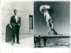 A photo of Nick Mazzuco and an atomic explosion on a testing site.