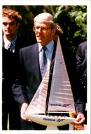 National Lottery: The Prime Minister John Major with a model yatch presented him by Mathew Humphries.
