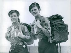 15 year-old Joan Sutherland and 16 year-old Rita Wilson, both from Scotland, leaving for Sweden.  1959.