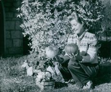 Lilian Harvey holding two pumpkins.