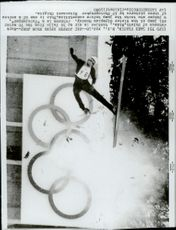 Ski jumper Mark Johnson is spinning around after a test jump during the 1980 Winter Olympics