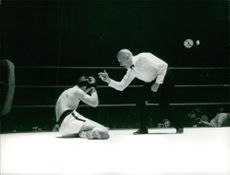 A boxer has knocked out while has been counted by a referee.