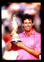 Golfer Ian Baker-Finch with the Open Championship trophy