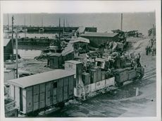 Russian Railway cars in the harbour, before the departure.