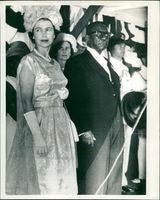 The Queen standing with president tubman on her arrival in liberia for her one day visit.