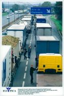 Striking truck drivers block the A1 highway near Lille