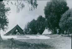 Soldiers setting up their tent in Sweden during World War I, 1936.