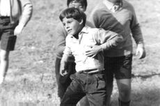 Son of Claudia Cardinale, Patrick Cristaldi's son playing with other boys.