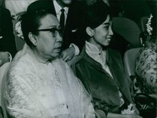 Wife of the United Nations Secretary-General U Thant and her daughter Aye Aye.