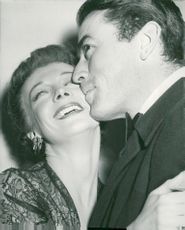 Gregory Peck and Signe Hasso at the premiere of Snow on Kilimanjaro at the cinema Park