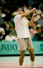 Action shot on Pete Sampras taken during an unknown tennis tournament.
