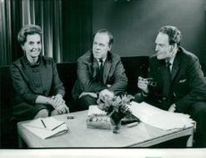Chief physician Gudrun Brun, Pastor Ludwig Jönsson and Author Agnar Mykle in the debate about marriage-faithfulness.