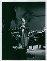Victor Borge performing on stage.