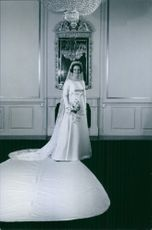 Princess Benedikte of Denmark is wearing her wedding dress. 1963
