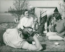 Astrid Lindgren with the actors during (We on Seacrow Island)