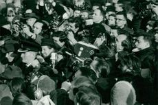 Crowd of photographers at funeral of Winston Churchill.