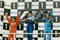 Formula one racing drivers after winning, 1996