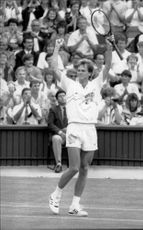 Stefan Edberg cheers in the match against John McEnroe in Wimbledon
